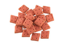 Close up of square  dog biscuits Royalty Free Stock Images
