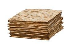 Close up of square matza. Isolated on white background Royalty Free Stock Image