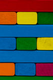 Close up square shape colorful background. Wooden color toy bloc Stock Image