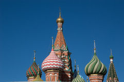 Close Up of St. Basil`s Onion Domes Stock Images