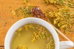 Close up of St Johns wort tea Royalty Free Stock Photos