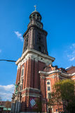 Close up of St. Michael's Church - Hamburg's major landmarks Stock Photo