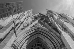 St Patrick`s Cathedral New York City Black and White royalty free stock images