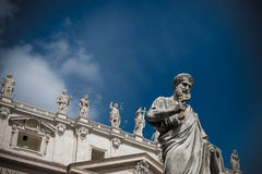 Close-up of St Peters Basilica facade Stock Photos
