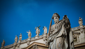 Close-up of St Peters Basilica facade Stock Photography