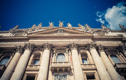 Close-up of St Peters Basilica facade royalty free stock photography