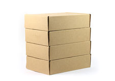Close up stack brown boxes. With white background Royalty Free Stock Images
