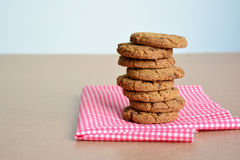 Close up stack of chocolate chip cookies. Royalty Free Stock Images