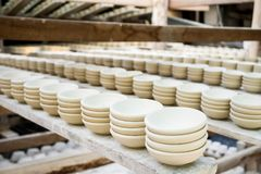 Close up clay pottery ceramic products dry on shelf royalty free stock photos