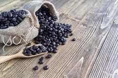 Close up stack of coffee bean on wooden spoon stock photography