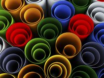 Close up of stack of color paper pipes Stock Image