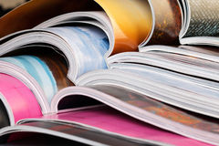 Close-up of stack of colorful magazines Royalty Free Stock Images