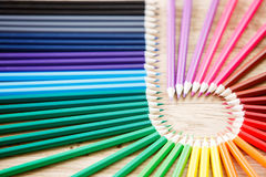Close up stack colour pencils on wooden background. Craetive concept. Blur. Circle of the wooden pencils. Natural material. Painting and drawing. Artist royalty free stock photography