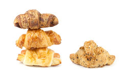 Close up stack croissant. On white background Royalty Free Stock Images