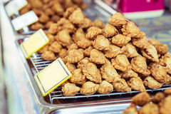 Close up stack of curry puff Thai snack or dessert Royalty Free Stock Images
