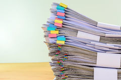 Close up stack document of account include sales Stock Image