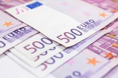 Close-up Stack of 500 Euro banknotes. European currency money banknotes. stock photos
