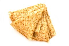 Close up on a stack of folded crepes french pancakes, isolated on white. Background royalty free stock images