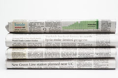 Close up of a stack of  folded newspapers Royalty Free Stock Image