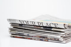 Close up of a stack of  folded newspapers Stock Photos