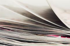 Close-up stack of magazines to turn pages Royalty Free Stock Photography