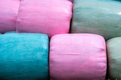 Close up of a Stack of multicoloured silage bags Stock Images