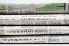 Close up of a stack of  newspapers Royalty Free Stock Image