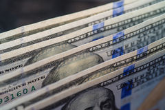 Close up of stack one hundred dollar bills royalty free stock images