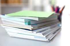 Close up of stack of papers on white background Royalty Free Stock Photography