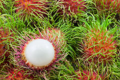 Close up stack of rambutan. Close up stack and half of rambutan Royalty Free Stock Photos