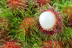 Close up stack of rambutan. Close up stack and half of rambutan Royalty Free Stock Photography