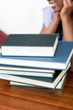 Close up of a stack of school books Royalty Free Stock Images
