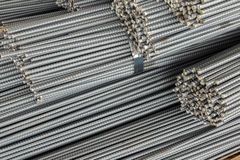 Close up stack of steel bar or steel reinforcement bar Stock Photography