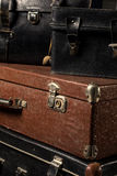 Close-up of a stack vintage shabby suitcases Royalty Free Stock Photography