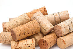 Close up stack of wine corks Royalty Free Stock Images