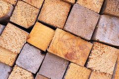 Close-up stack of wood blocks background Royalty Free Stock Image