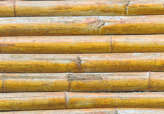 Close up stack of yellow bamboo fence background Royalty Free Stock Image