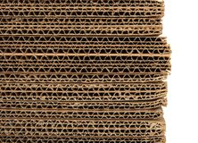 Close-up of stacked corrugated cardboard Royalty Free Stock Images