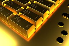 Close up Stacked gold bars and coins,3d rendering,illustration.  Royalty Free Stock Images