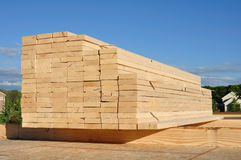 Close-up of Stacked Lumber Royalty Free Stock Photo
