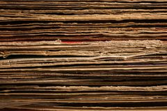 Close up of Stacked Old Vinyl LP Covers Stock Photo