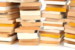 Stacked books in close-up royalty free stock photo