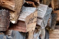 Close Up of Stacked Wooden Logs Background stock photos