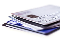 Close up the stacking of credit cards with extremely shallow DOF Stock Photography