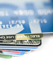Close up stacking credit cards Stock Photography