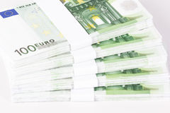 Close-up of Stacks of 100 Euro Banknotes Stock Images