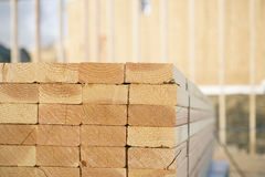Close-up of Stacks of Lumber at a Construction Sit Stock Photography