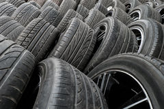 Close up stacks of old used tires Royalty Free Stock Photo