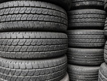 Close up stacks of old used tires. Royalty Free Stock Images