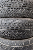 Close up stacks of old used tires. Stock Photo